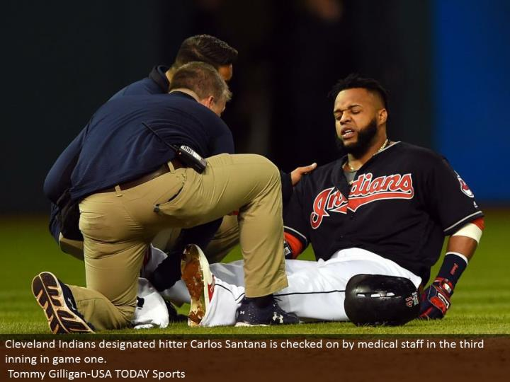 Cleveland Indians assigned hitter Carlos Santana is minded by medicinal staff in the third inning in amusement one.  Tommy Gilligan-USA TODAY Sports