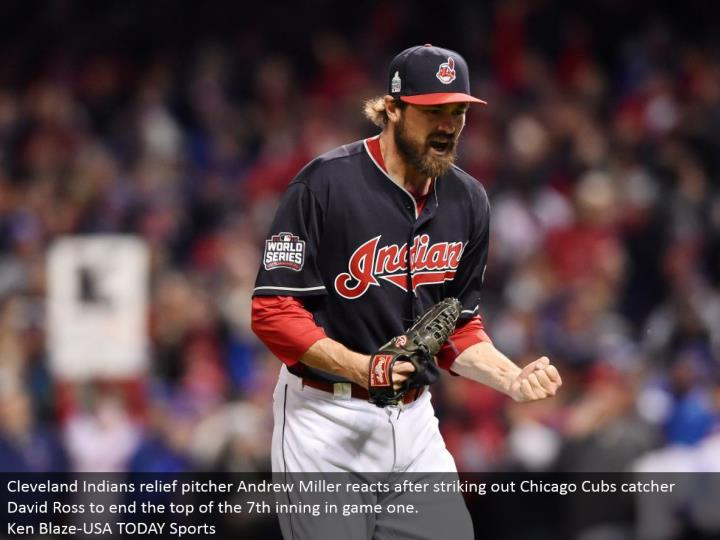 Cleveland Indians help pitcher Andrew Miller responds subsequent to striking out Chicago Cubs catcher David Ross to end the highest point of the seventh inning in amusement one.  Ken Blaze-USA TODAY Sports