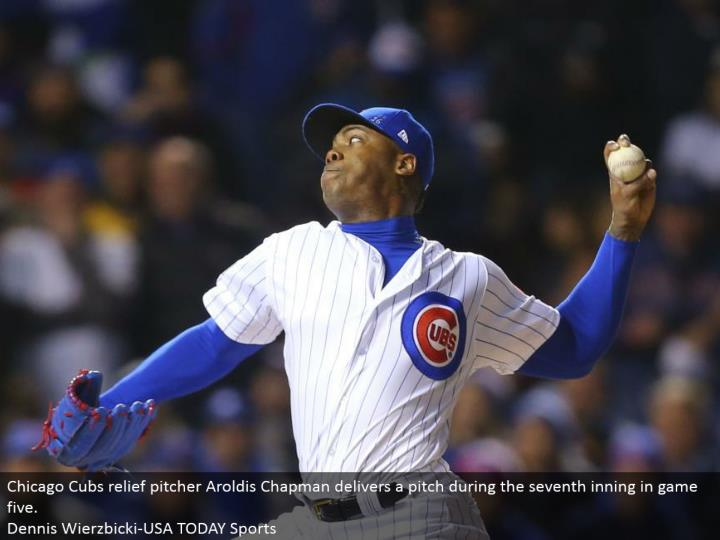 Chicago Cubs help pitcher Aroldis Chapman conveys a contribute amid the seventh inning amusement five.  Dennis Wierzbicki-USA TODAY Sports