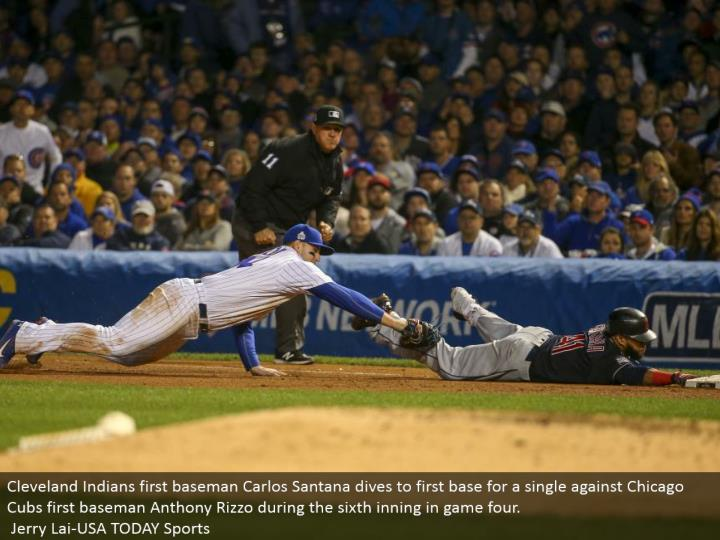 Cleveland Indians first baseman Carlos Santana plunges to a respectable starting point for a solitary against Chicago Cubs first baseman Anthony Rizzo amid the 6th inning in amusement four.  Jerry Lai-USA TODAY Sports