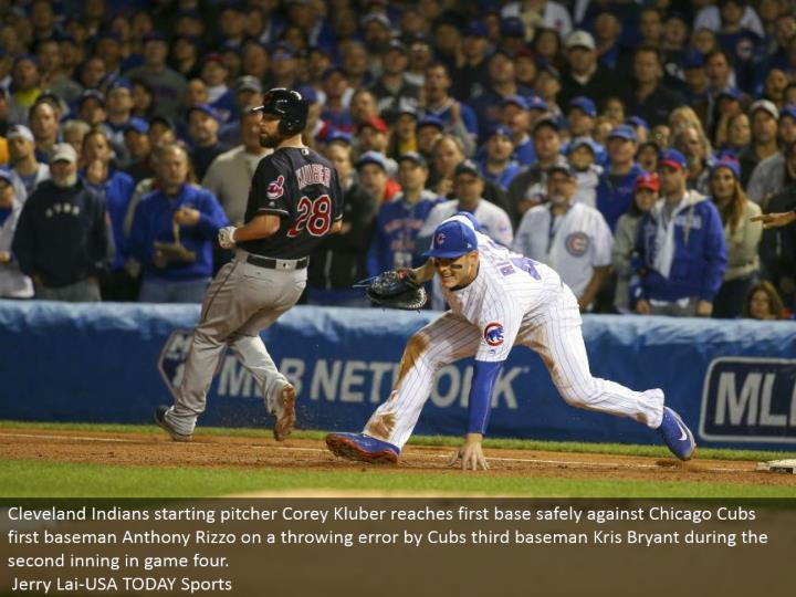 Cleveland Indians beginning pitcher Corey Kluber achieves a respectable starting point securely against Chicago Cubs first baseman Anthony Rizzo on a tossing mistake by Cubs third baseman Kris Bryant amid the second inning in diversion four.  Jerry Lai-USA TODAY Sports
