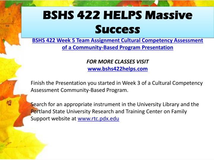 BSHS 422 HELPS Massive Success