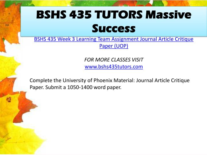 BSHS 435 TUTORS Massive Success