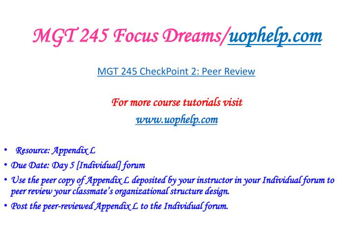 MGT 245 Focus Dreams/