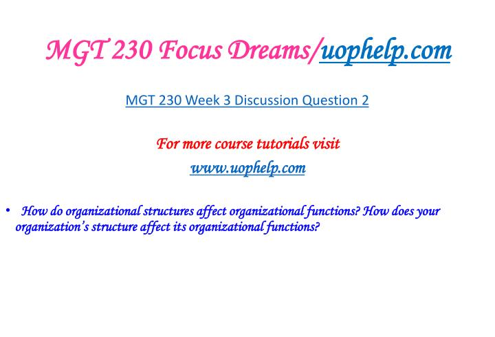 MGT 230 Focus Dreams/
