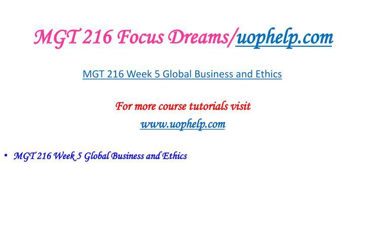 MGT 216 Focus Dreams/