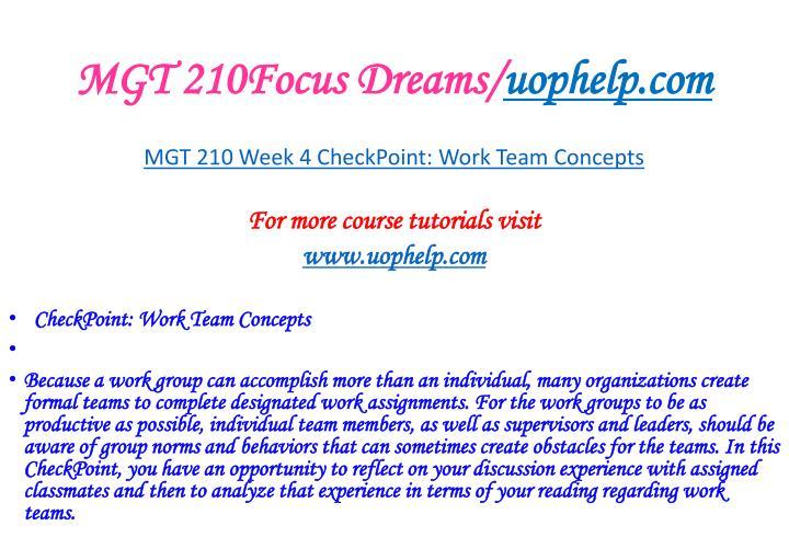 MGT 210Focus Dreams/