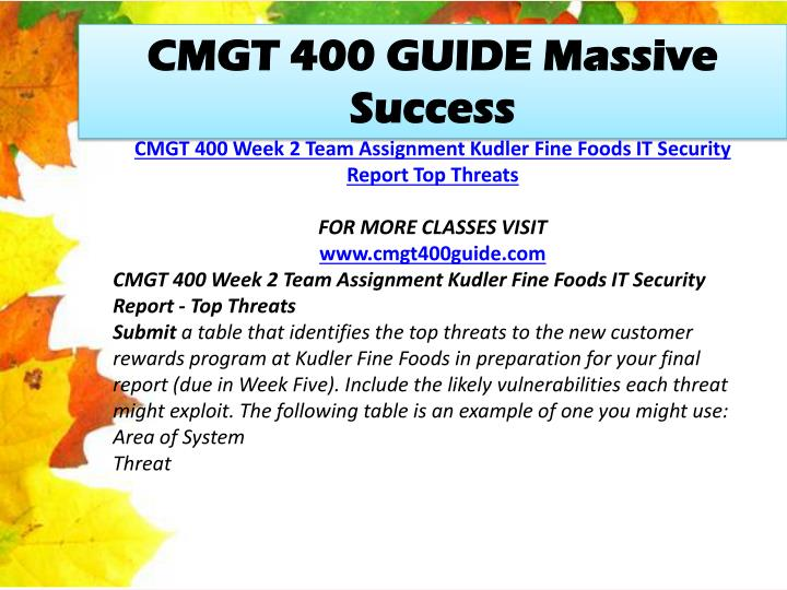 CMGT 400 GUIDE Massive Success