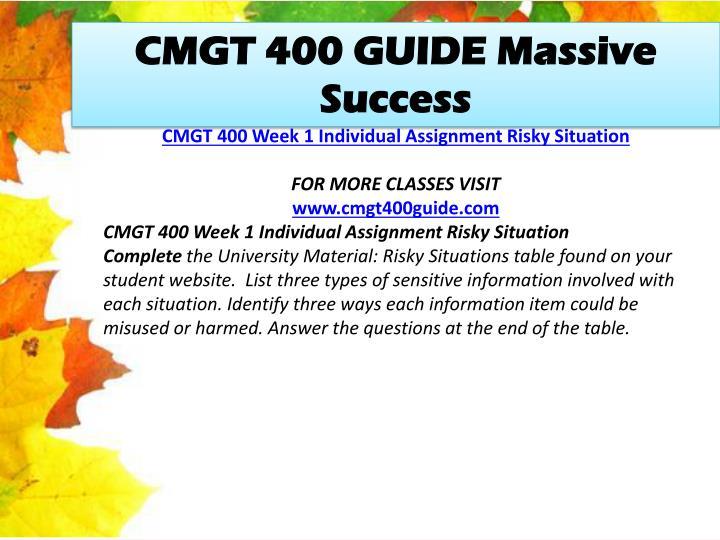 CMGT 400 GUIDE Massive Success