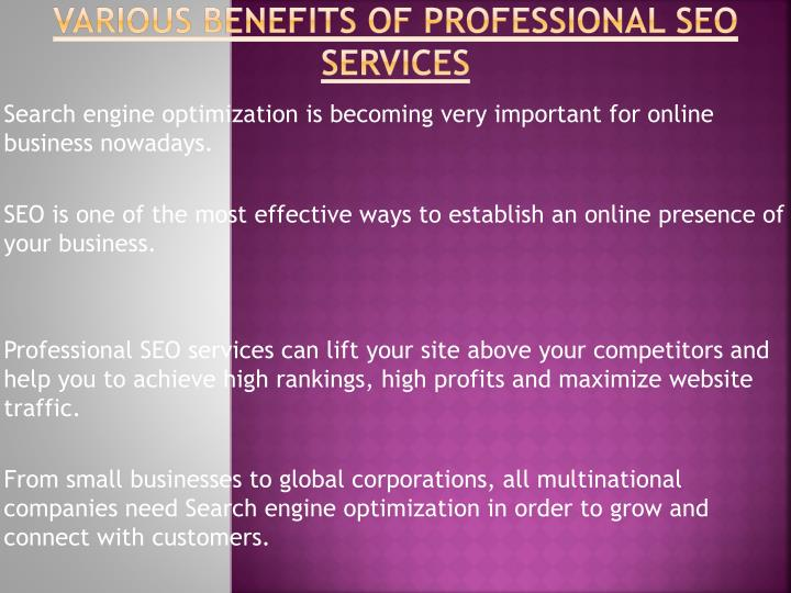 Various Benefits of Professional SEO Services