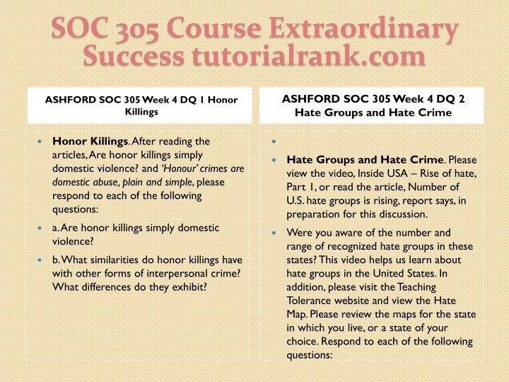 SOC 305 Course Extraordinary  Success tutorialrank.com
