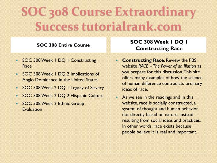 SOC 308 Entire Course