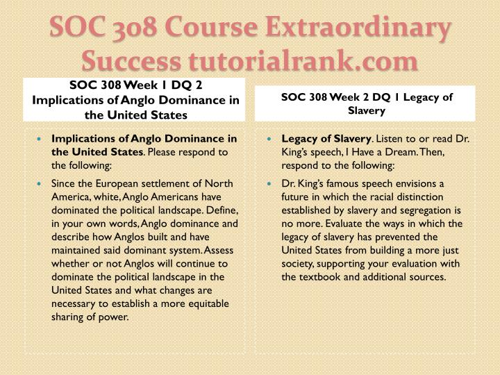 SOC 308 Week 1 DQ 2 Implications of Anglo Dominance in the United States