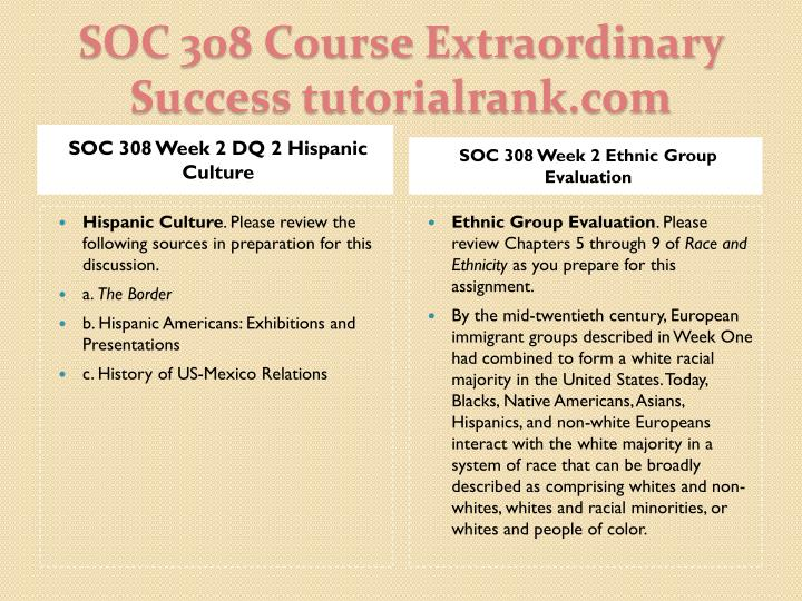 SOC 308 Week 2 DQ 2 Hispanic Culture