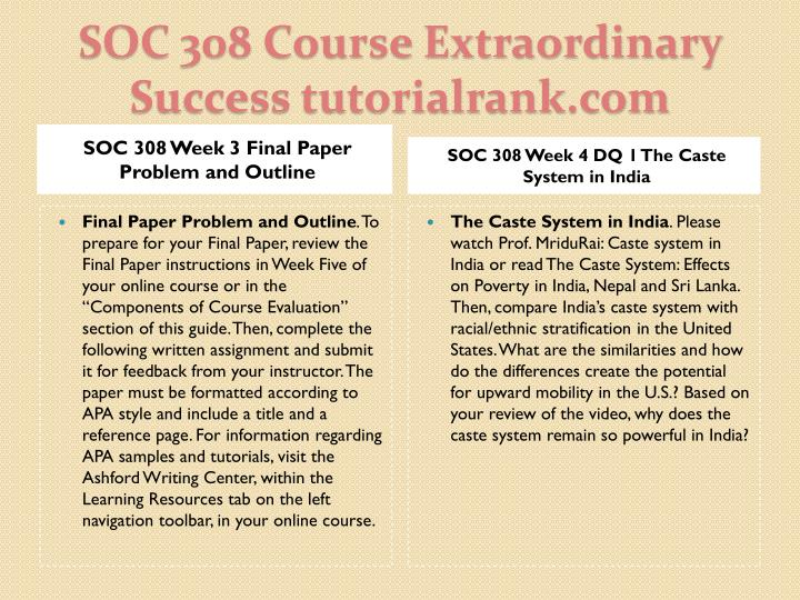 SOC 308 Week 3 Final Paper Problem and Outline