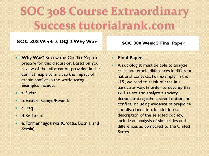 SOC 308 Week 5 DQ 2 Why War