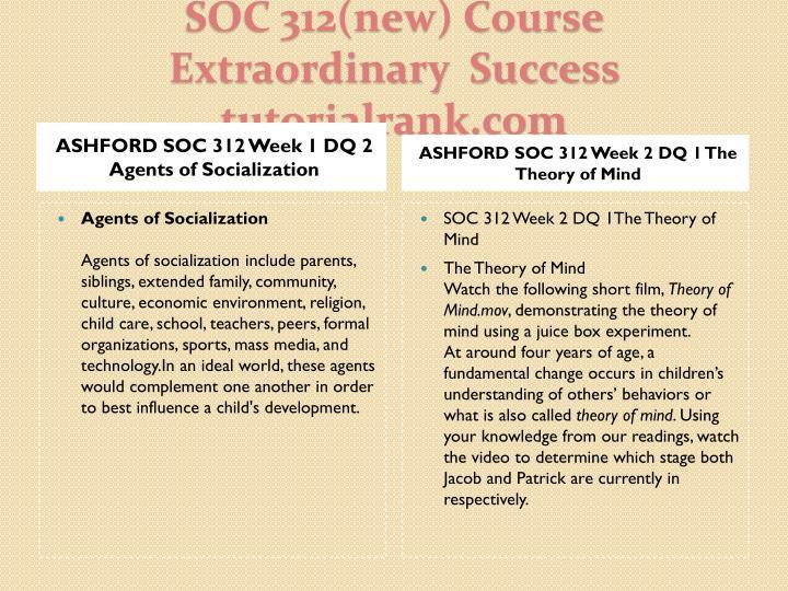 ASHFORD SOC 312 Week 1 DQ 2 Agents of Socialization