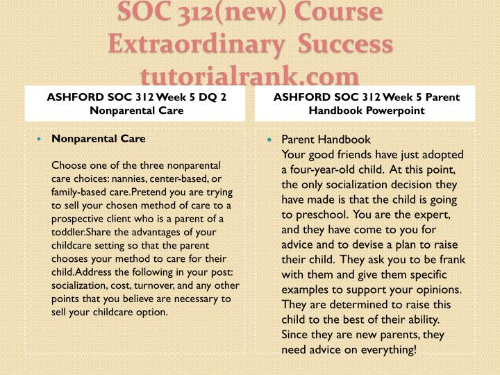 ASHFORD SOC 312 Week 5 DQ 2 Nonparental Care