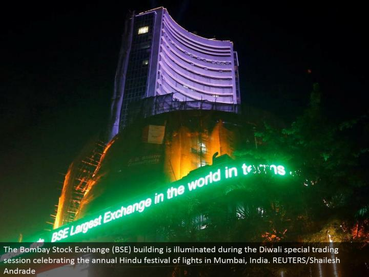 The Bombay Stock Exchange (BSE) building is enlightened amid the Diwali exceptional exchanging session praising the yearly Hindu celebration of lights in Mumbai, India. REUTERS/Shailesh Andrade