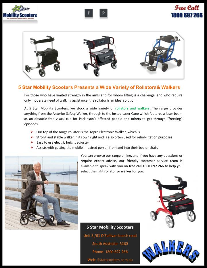 5 Star Mobility Scooters Presents a Wide Variety of Rollators& Walkers
