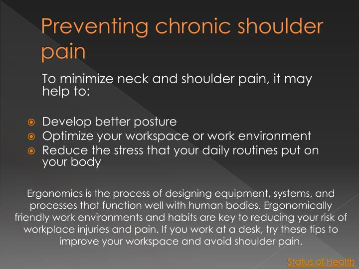 Preventing chronic shoulder pain