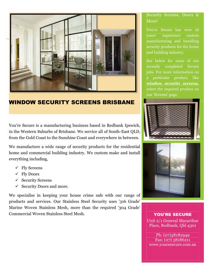 Security Screens, Doors &