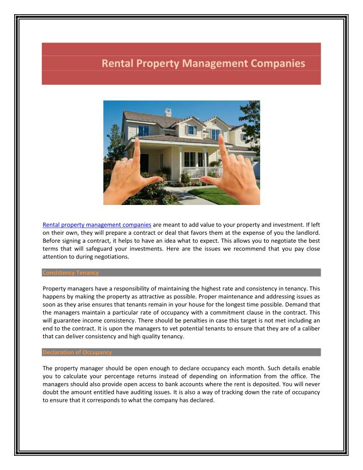 Rental Property Management Companies