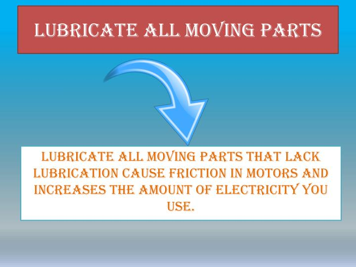 Lubricate All Moving Parts