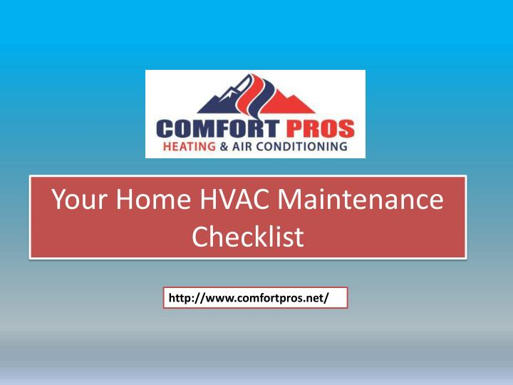 Your home hvac maintenance checklist