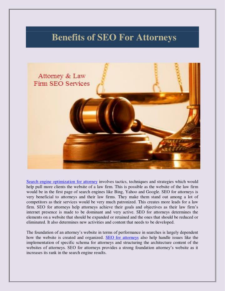 Benefits of SEO For Attorneys