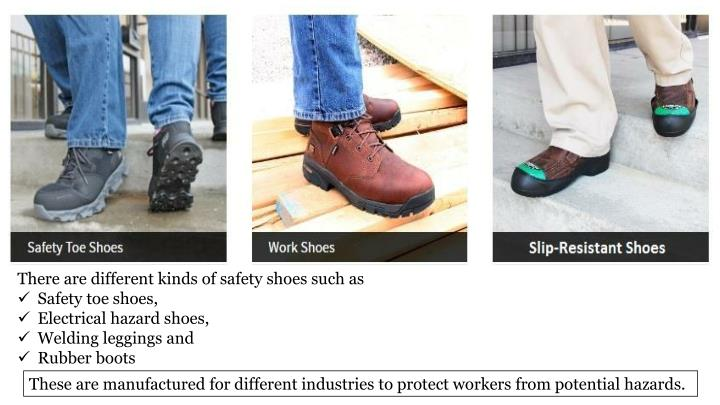 There are different kinds of safety shoes such as