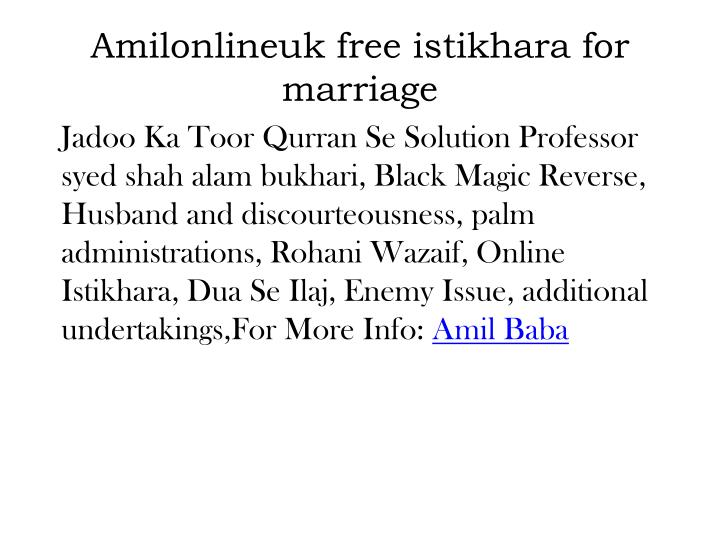 Amilonlineuk free istikhara for marriage