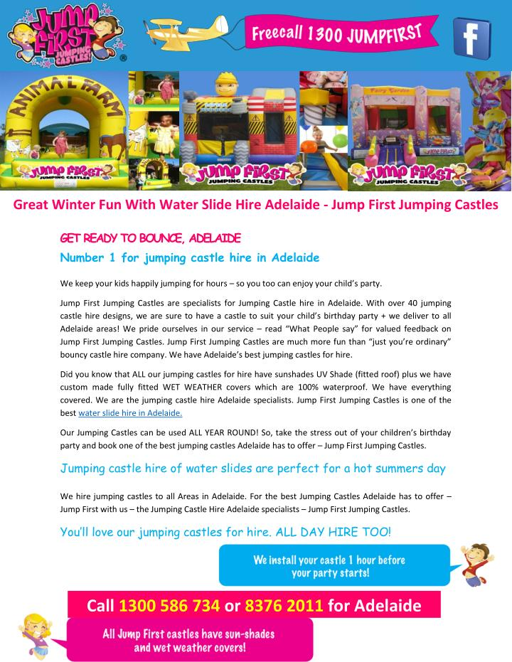 Great Winter Fun With Water Slide Hire Adelaide - Jump First Jumping Castles