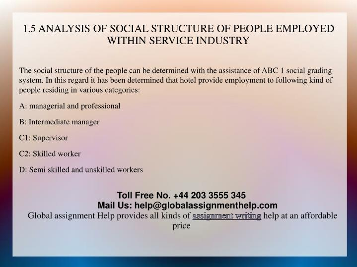 1.5 ANALYSIS OF SOCIAL STRUCTURE OF PEOPLE EMPLOYED WITHIN SERVICE INDUSTRY