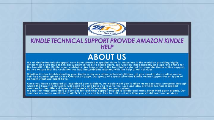 Kindle technical support provide amazon kindle help