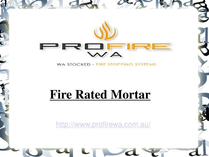 Fire Rated Mortar