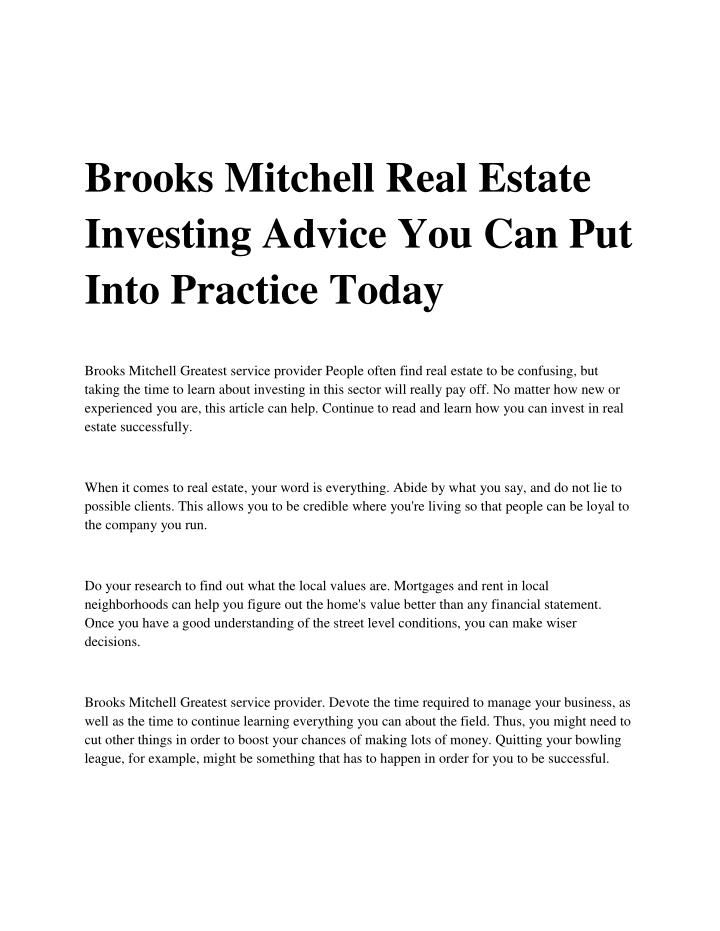 Brooks Mitchell Real Estate