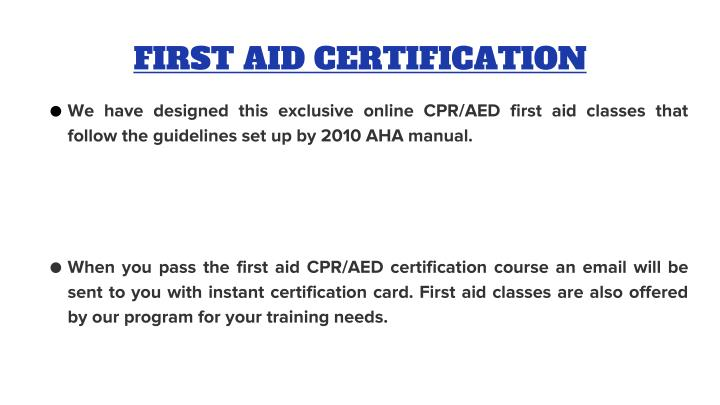 FIRST AID CERTIFICATION