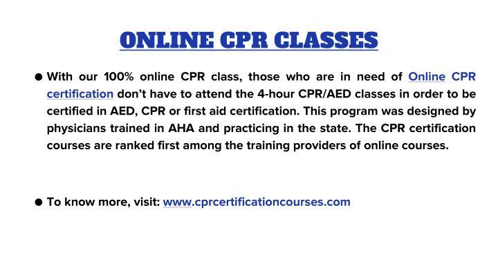 ONLINE CPR CLASSES