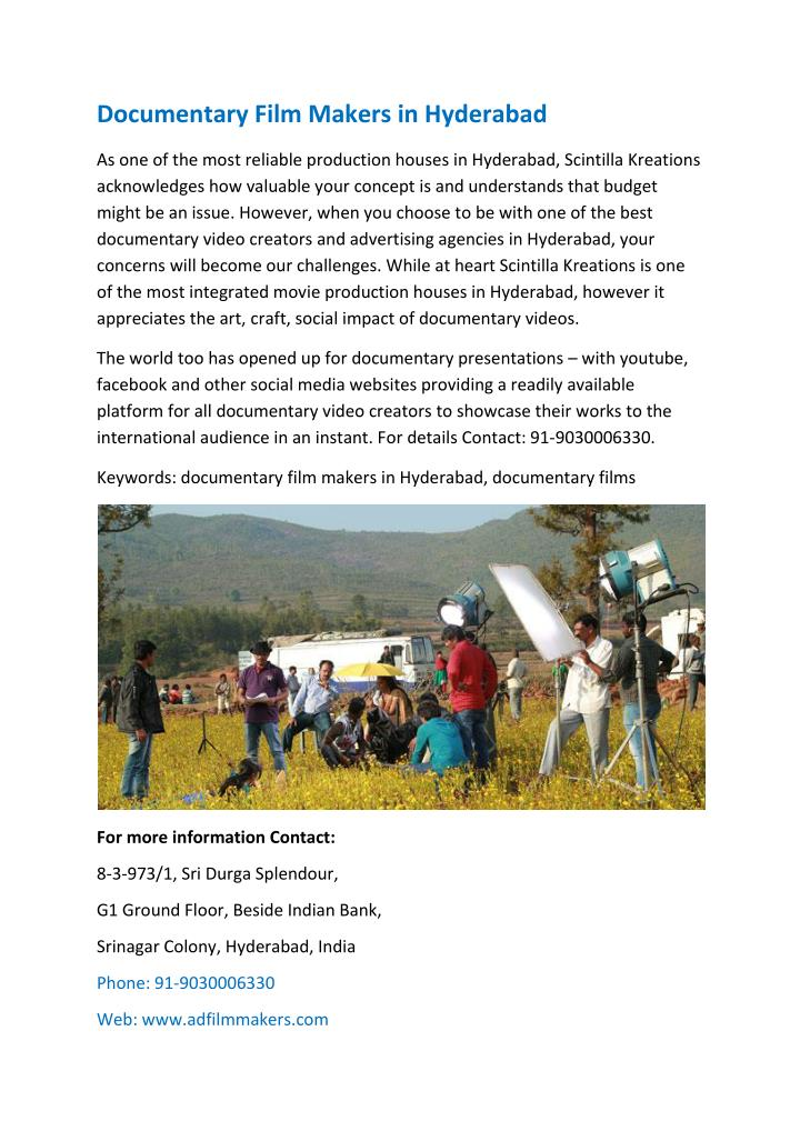 Documentary Film Makers in Hyderabad