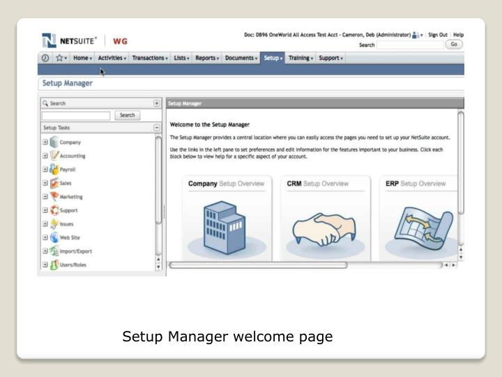 Setup Manager welcome page