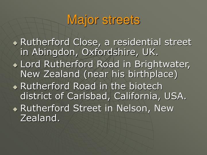 Major streets