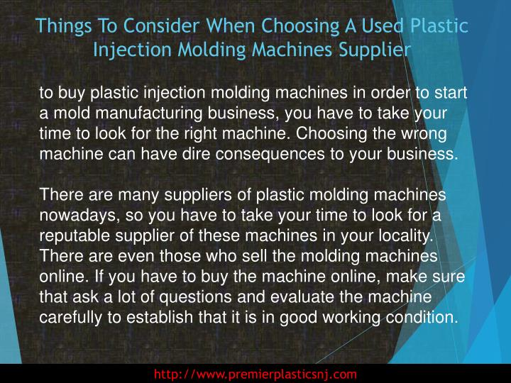 Things to consider when choosing a used plastic injection molding machines supplier1