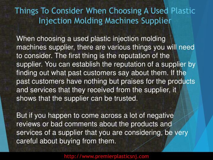 Things to consider when choosing a used plastic injection molding machines supplier2