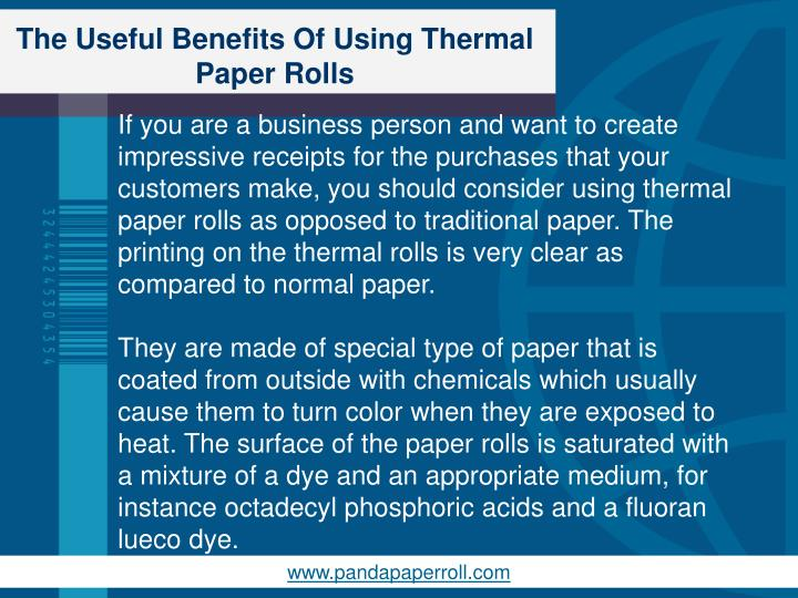 The useful benefits of using thermal paper rolls1