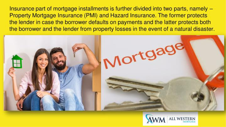 Insurance part of mortgage installments is further divided into two parts, namely