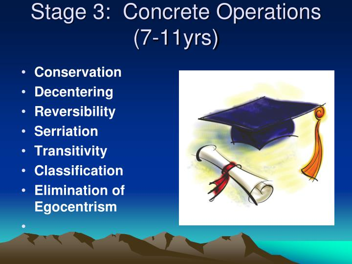 Stage 3:  Concrete Operations (7-11yrs)