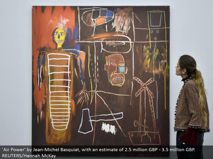 'Air Power' by Jean-Michel Basquiat, with a gauge of 2.5 million GBP - 3.5 million GBP. REUTERS/Hannah McKay