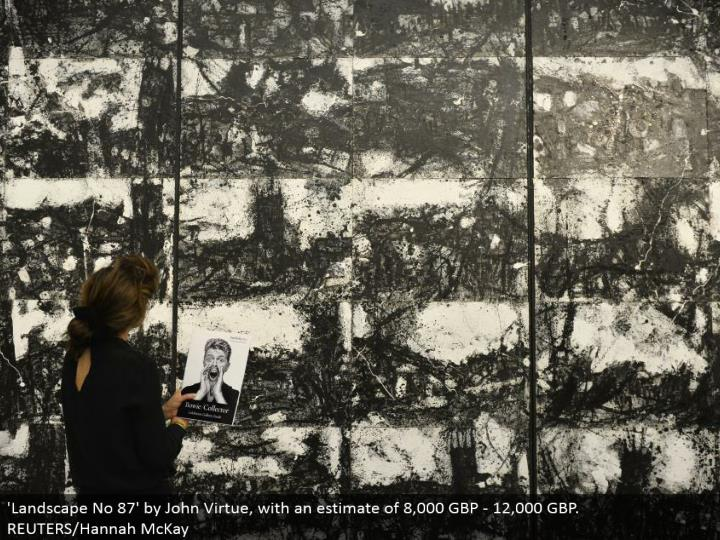 'Landscape No 87' by John Virtue, with a gauge of 8,000 GBP - 12,000 GBP. REUTERS/Hannah McKay