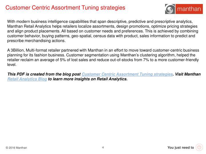 Customer Centric Assortment Tuning strategies